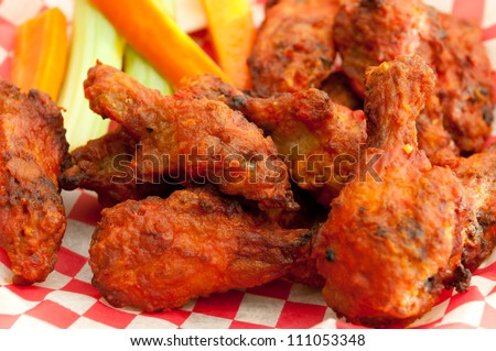 buffalo style spicy hot chicken wings - stock photo