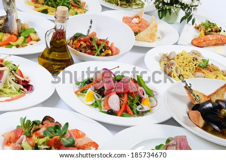 Buffet in the restaurant with different meals - stock photo