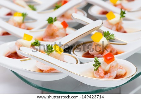 Buffet line in Wedding,Thailand - stock photo