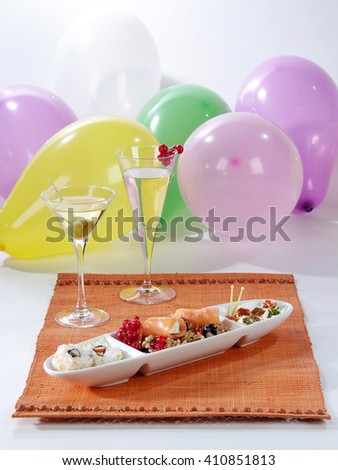 buffet of appetizers for a party