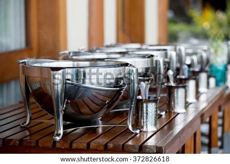 buffet pots in hotel - stock photo
