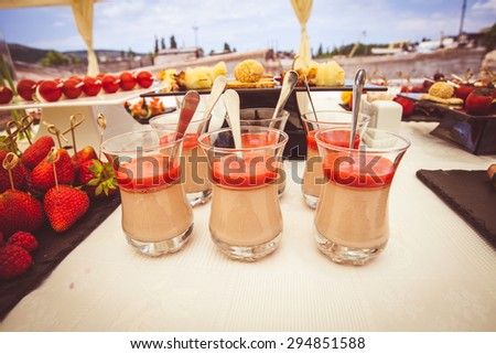 Buffet table closeup - stock photo