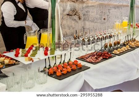 Buffet table closeup. - stock photo