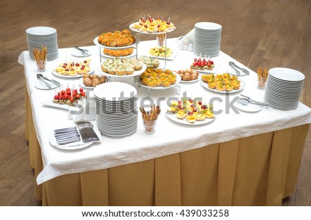 buffet table, table food restaurant, appetizer plate - stock photo