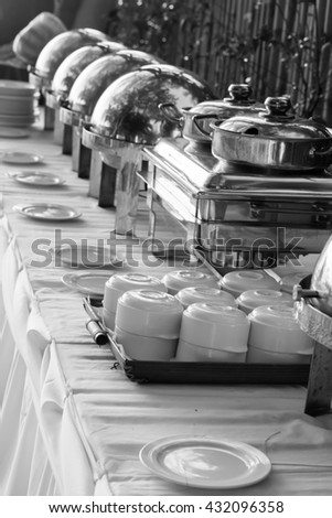 Buffet Table with Row of Food Service Steam Pans(Black and White)