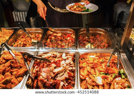 buffet with various food at a Chinese restaurant
