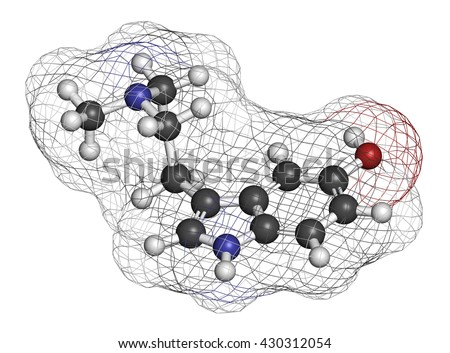 Bufotenin molecule. Tryptamine present in several psychedelic toads. 3D rendering. Atoms are represented as spheres with conventional color coding: hydrogen (white), carbon (grey), oxygen (red), etc - stock photo