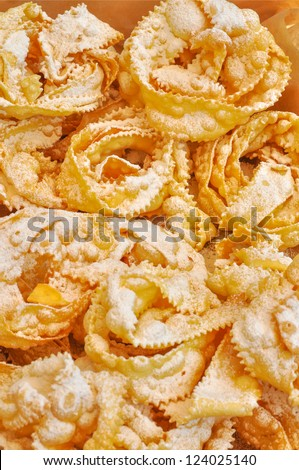 Bugie Chiacchere - Italian carnival food from Naples - stock photo