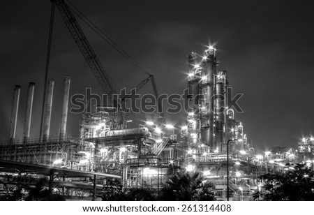 build petrochemical plant at night. - stock photo