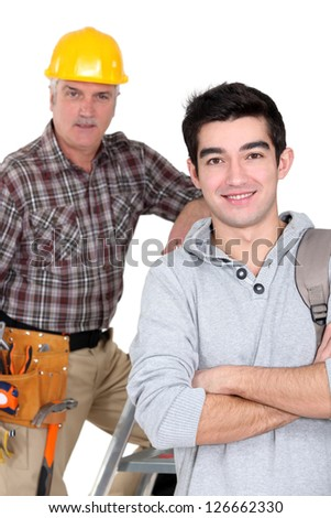 Builder and a college student - stock photo