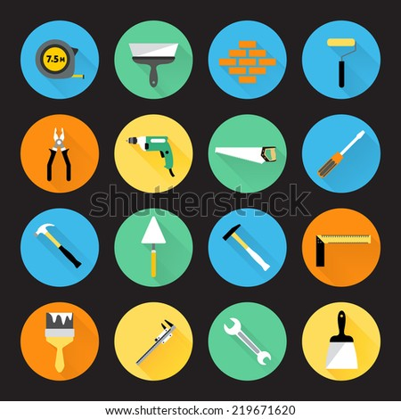 Builder and construction hand work repair instruments icons set isolated  illustration. - stock photo