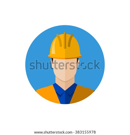 Builder construction worker in protective wear and helmet. Builder icon. Builder avatar. Flat design illustration - stock photo