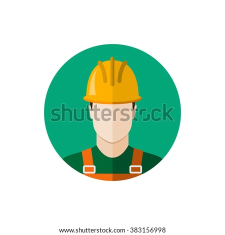 Builder construction worker in protective wear and helmet. Flat design illustration - stock photo
