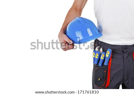 builder in a helmet over white background - stock photo