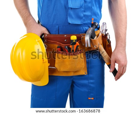 Builder isolated on white