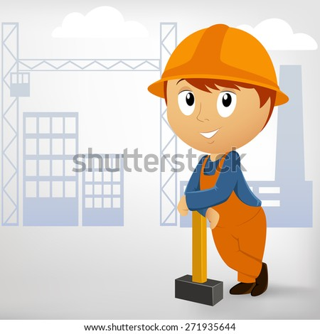 Builder man with sledgehammer on construction background. - stock photo