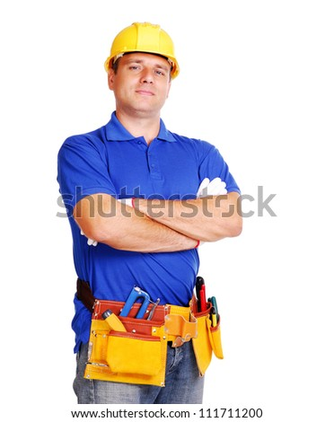 Builder on white background - stock photo