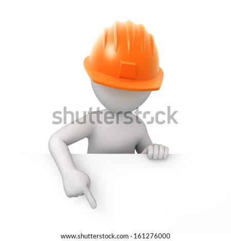 builder points a finger down. 3d image with a work path - stock photo