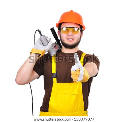 builder with drill showing thumb up