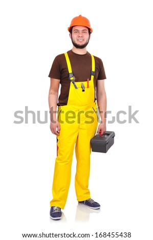 builder with tools on a white background