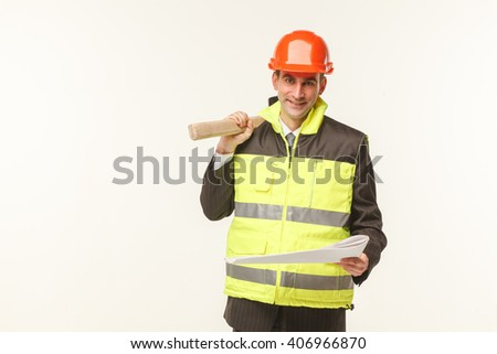 builder with tools white background helmet work - stock photo
