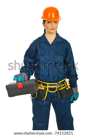 Builder woman holding tools container isolated on white background