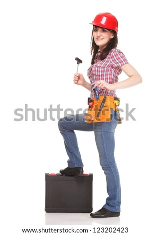 Builder woman with tools on white background