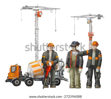 Builders on the building site. Industrial illustration with workers, cranes and concrete mixer machine - stock photo
