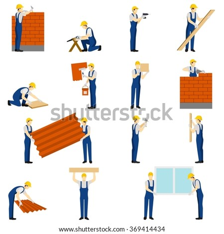 Builders People Set - stock photo