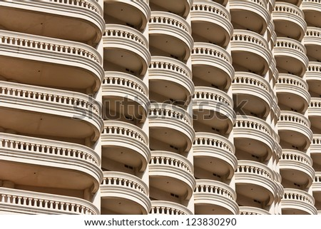 Building a curved balcony - stock photo