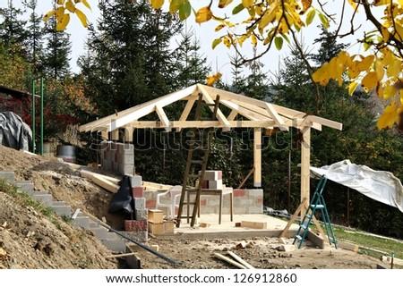 building a garden gazebo - stock photo