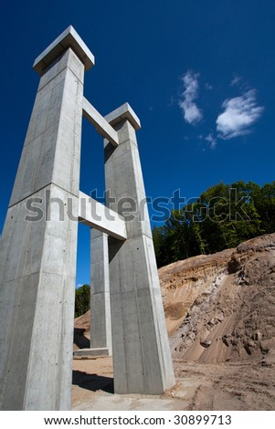 Building a highway - stock photo