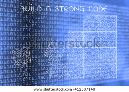 building a strong code: men lifting blocks with messy binary code, metaphor illustration