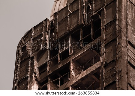 building after fire dilapidated ruins - stock photo