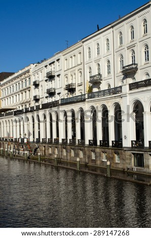 building along a canal in Hamburg, Germany - stock photo