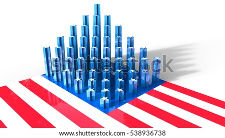 Building America 3D Concept on the USA Flag