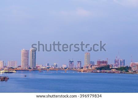 Building and building bridges over the river in Bangkok. In Bangkok - stock photo