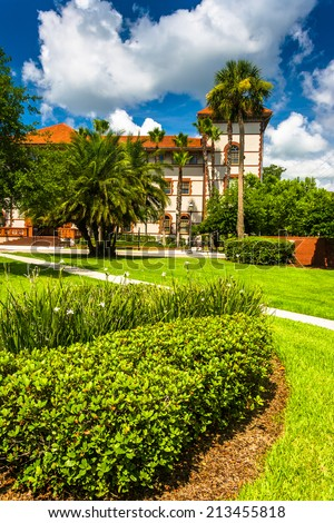 Building and bushes at Flagler College, St. Augustine, Florida. - stock photo