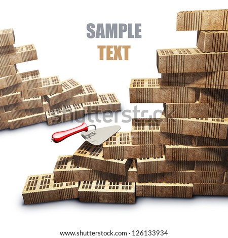 Building and construction concept. brick and metal trowel isolated on white background. High resolution 3d render - stock photo