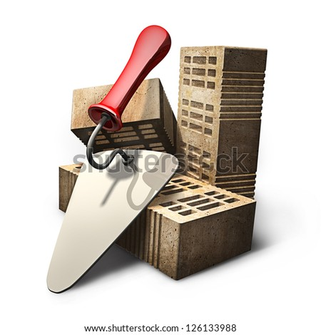 Building and construction concept. bricks and metal trowel isolated on white background. High resolution 3d render - stock photo