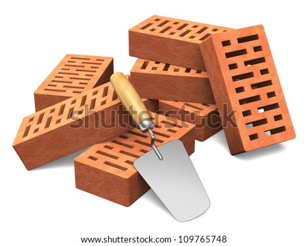 Building and construction industry concept: group of red bricks and metal trowel isolated on white background - stock photo