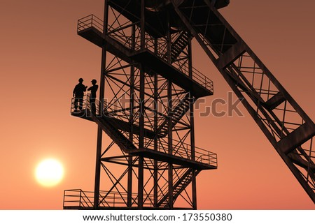 Building and construction workers silhouettes. - stock photo