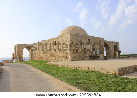 Building and Ruins of Biblical City of Achziv in the Mediterranean Coast of Israel