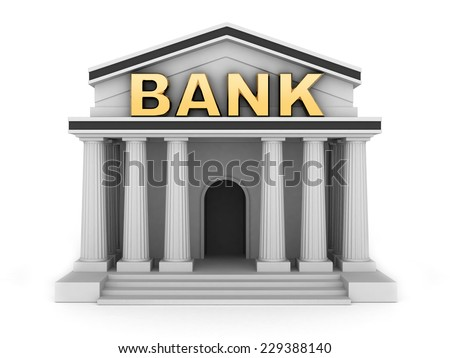 Building and sign bank (done in 3d)  - stock photo