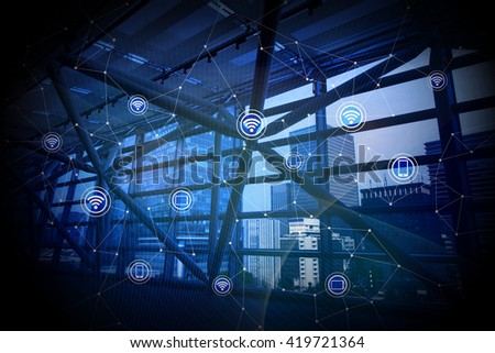 building and wireless communication, abstract image visual - stock photo