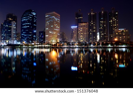 Building at night. - stock photo