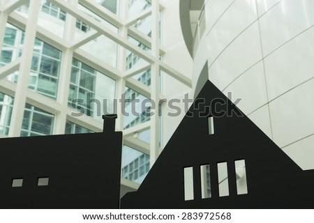 Building background with silhouette of  houses - stock photo