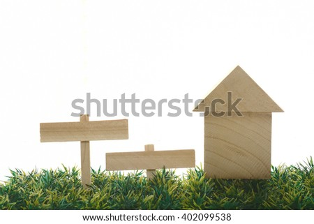 Building blocks of the house & sign boards  - stock photo