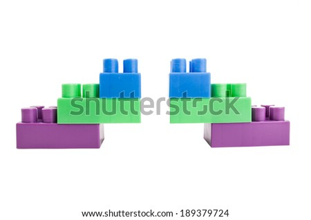 building blocks on a white background - stock photo