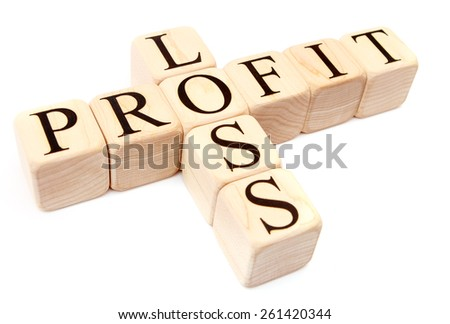 Building Blocks on White spelling profit and loss